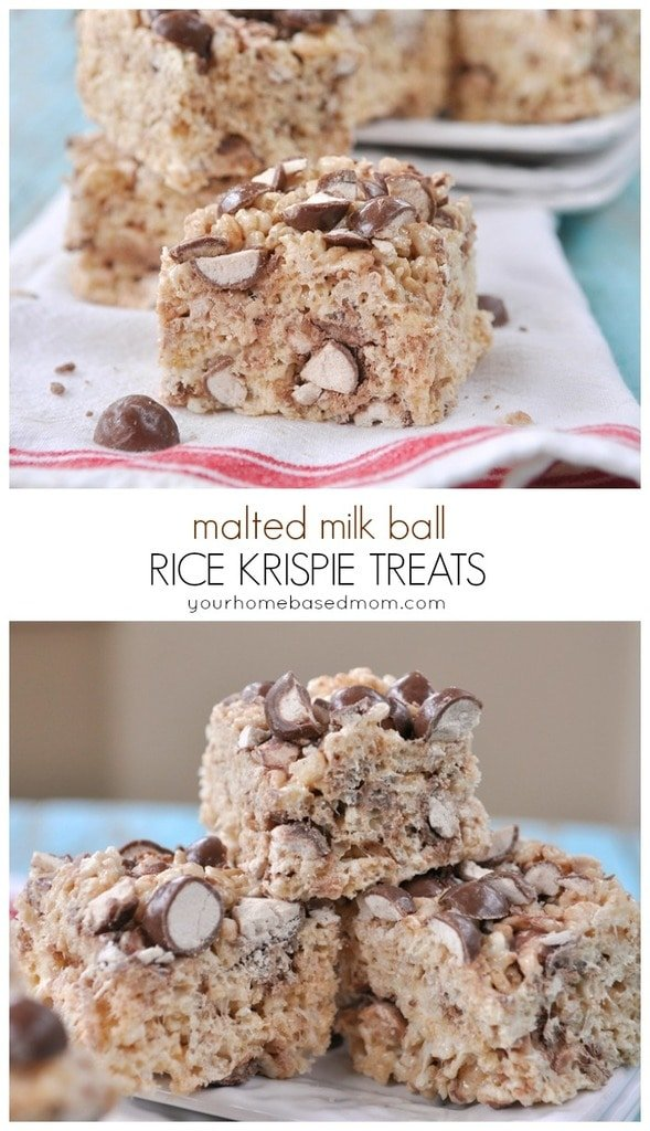 malted milk ball rice krispie treats@yourhomebasedmom !