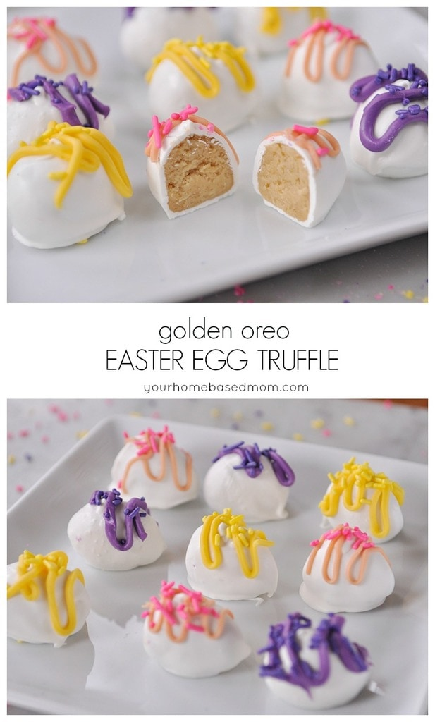 Golden Oreo Easter Egg Truffles are easy to make and so yummy. They are pretty cute too! @yourhomebasedmom