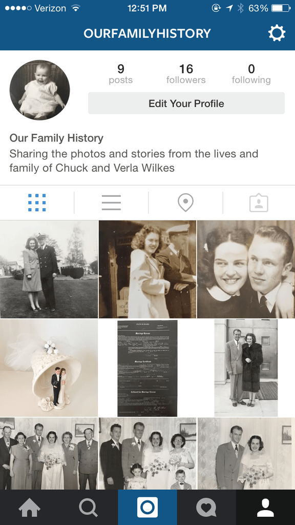 Instagram and family history from yourhomebasedmom.com
