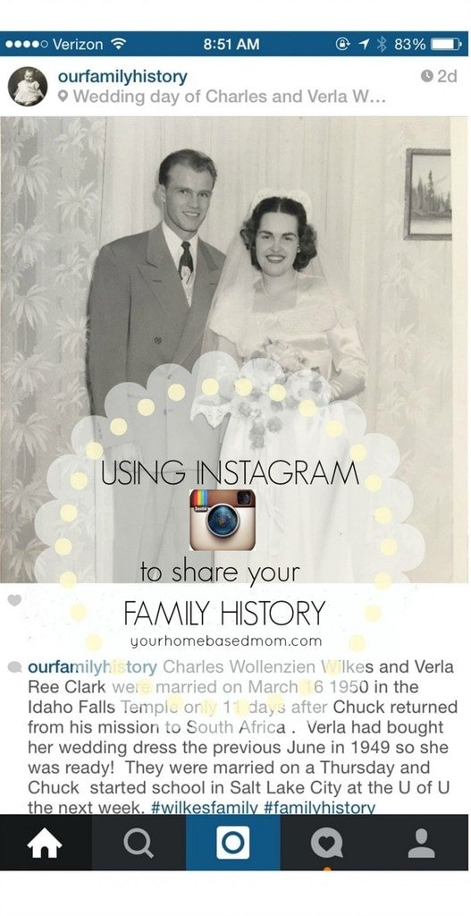 Using Instagram to share your family history@yourhomebasedmom