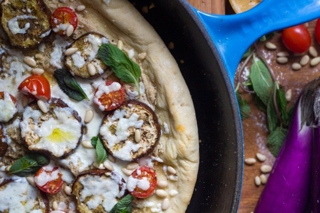 Middle Eastern Flatbread with Eggplant, Tahini Sauce & Za'atar
