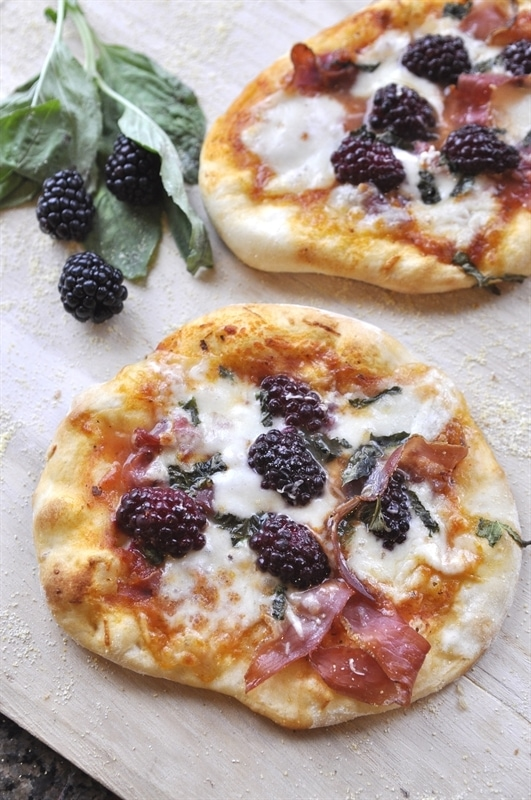 Proscuitto, Blackberry and Basil Pizza
