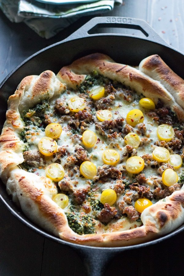 Sausage & Kale Pesto Pizza