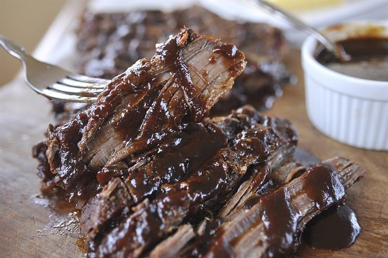 Slow Cooker Beef Brisket @yourhomebasedmom.com