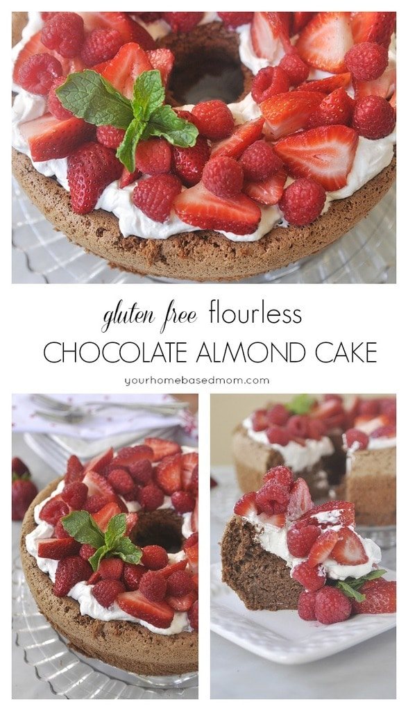 Gluten Free flourless chocolate almond cake is light and airy and oh so divine. Topped with whipped cream and fresh berries!