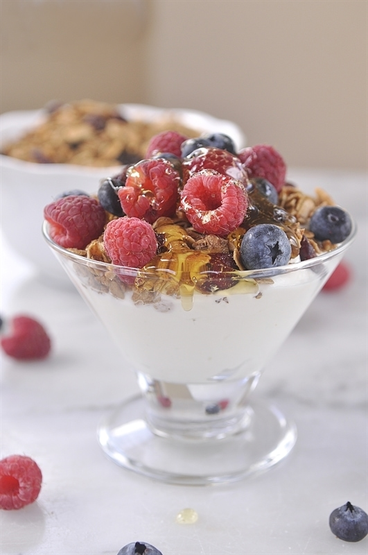 Greek Yogurt With Berries, Nuts And Honey Recipes — Dishmaps