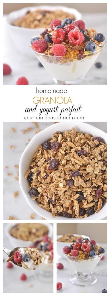 Homemade Granola and Yogurt Parfaits for breakfast!