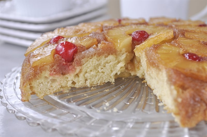 Pineapple Upside Down Cake with Vanilla Sauce @yourhomebasedmom.com
