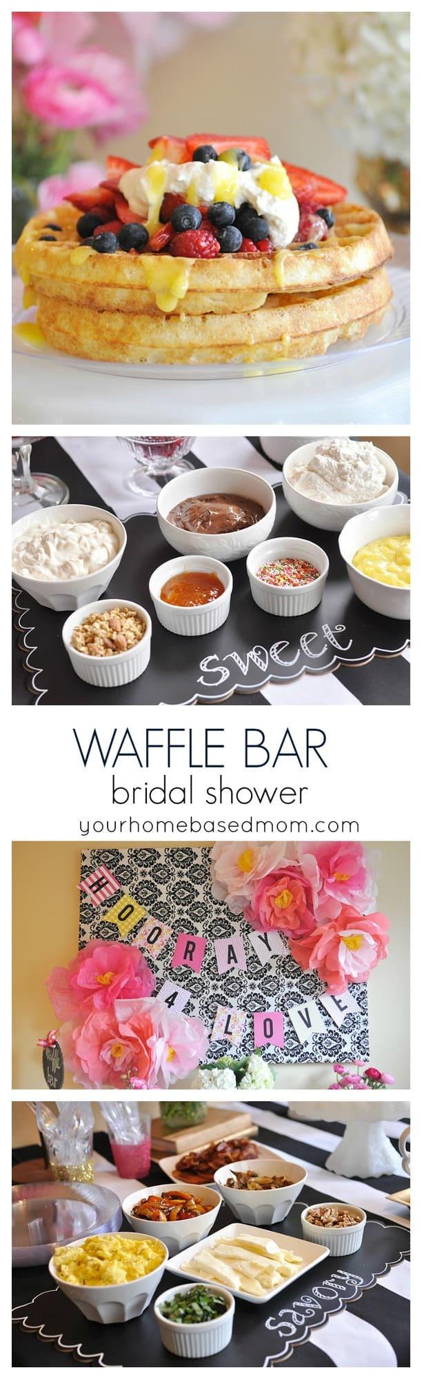 Waffle Bar Bridal Shower @yourhomebasedmom.com