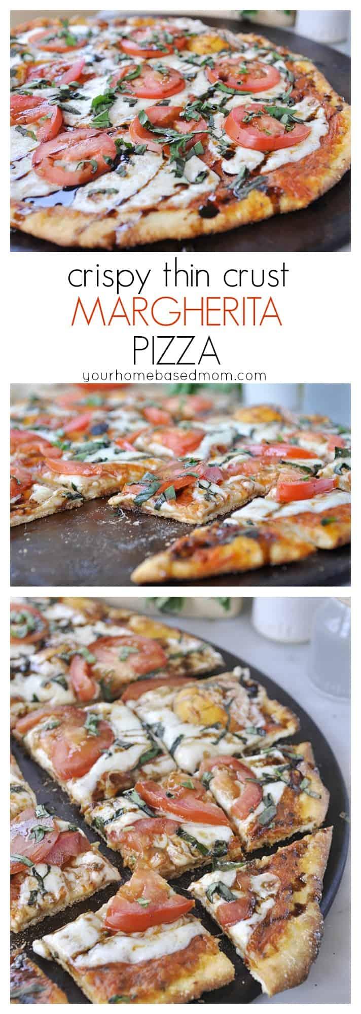crispy thin crust margherita pizza @yourhomebasedmom.com