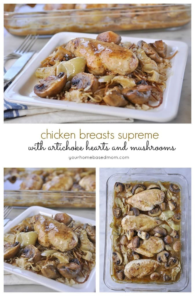 Chicken Breasts Supreme with Artichoke Hearts and Mushrooms will impress your dinner guests.  Looks sophisticated but so easy to make.