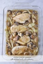 Chicken Breasts with mushrooms and artichoke hearts is a delicious and elegant