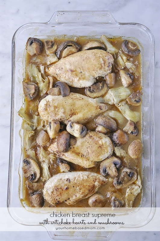 Chicken Breasts with mushrooms and artichoke hearts is a delicious and elegant meal