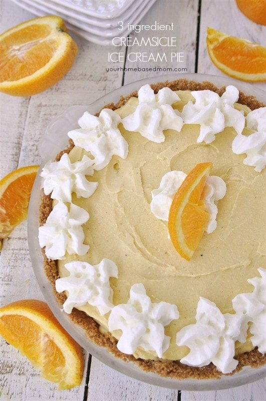 Creamsicle Ice Cream Pie - only 3 ingredients! - your homebased mom