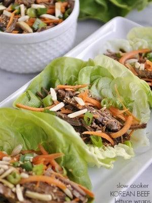 slow cooker korean beef lettuce wraps @yourhomebasedmom.com