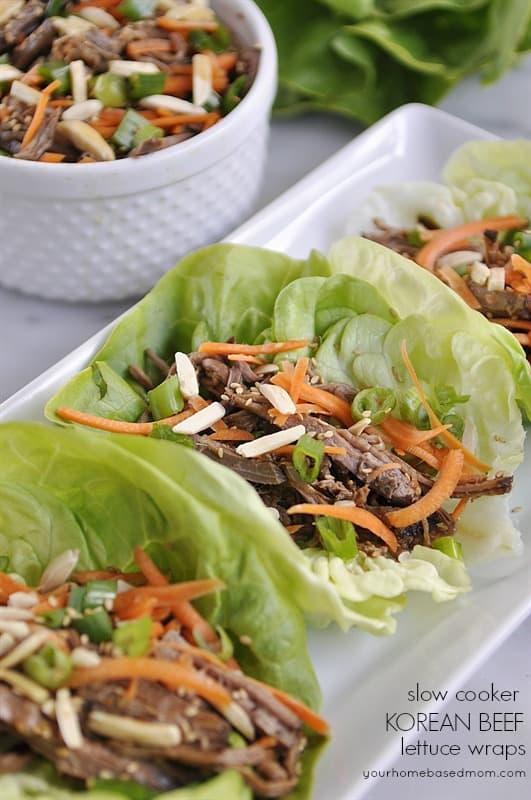 korean beef lettuce wraps - so delicious and easy to make in your slow cooker!