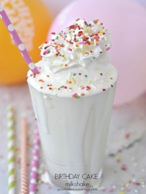 A Birthday Cake Milkshake - the perfect combination, ice cream and cake all in one @yourhomebasedmom.com