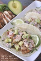 These Chicken Tacos with Salsa Cream Sauce are easy to make and full of lots of great flavor. A perfect family meal. @yourhomebasedmom.com
