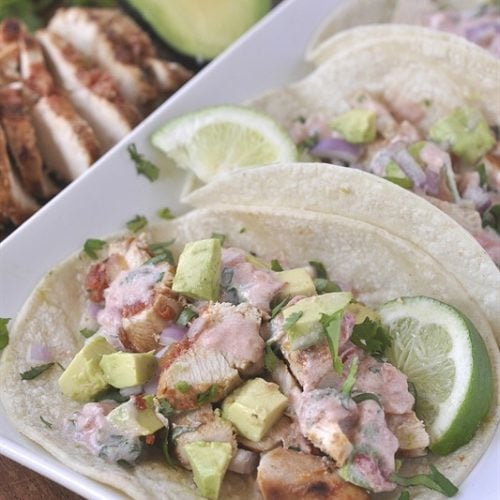 Chicken Tacos with Salsa Cream Sauce