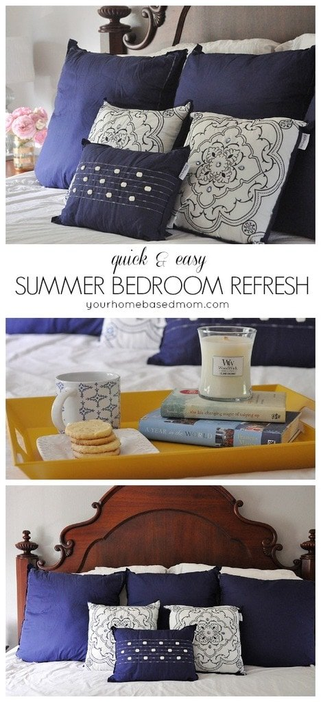 Create a quick & easy summer bedroom refresh by changing out your pillows