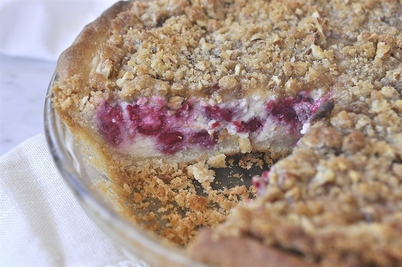 streusel topping, the warm, yummy raspberries, the gooey sour cream ...