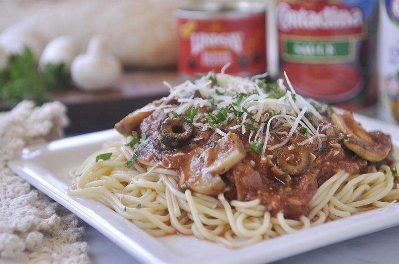 Artichoke Mushroom Marinara Pasta