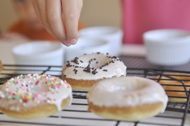 Sprinkles on Baked DOnuts