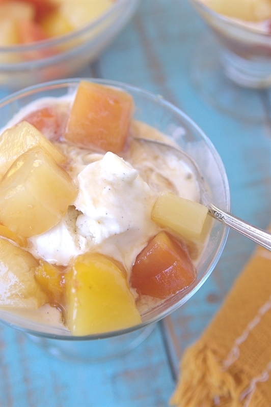 Brown Sugar Tropical Fruit Topping on Ice Cream