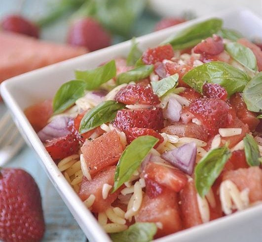 Strawberry Watermelon Orzo Salad is both pretty & delicious. A wonderful combination of flavors and textures.