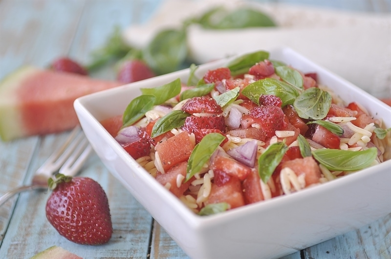 Strawberry Watermelon Orzo Salad