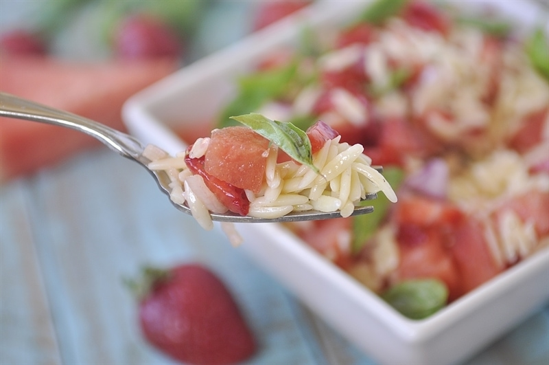Strawberry Watermelon Orzo Salad