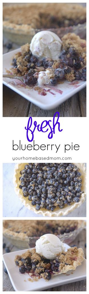 Enjoy this fresh blueberry pie with a hint of lemon. The crunch of the topping is amazing!