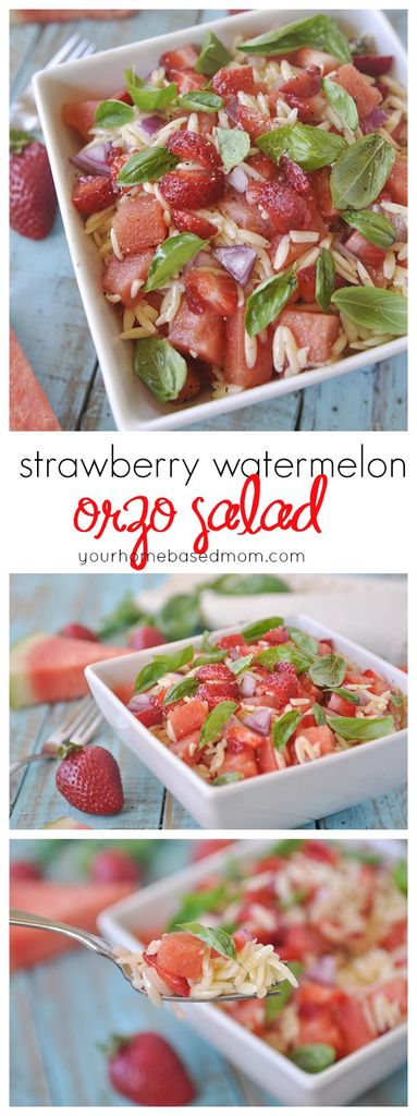 Watermelon Orzo Salad with strawberries, lemon, and basil