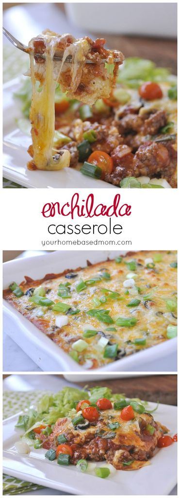 Enchilada Casserole Recipe - all the flavor of enchiladas in an easy casserole!