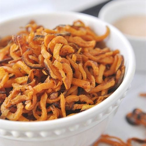 Sweet Potato Shoestring Fries with Smokey Fry Sauce