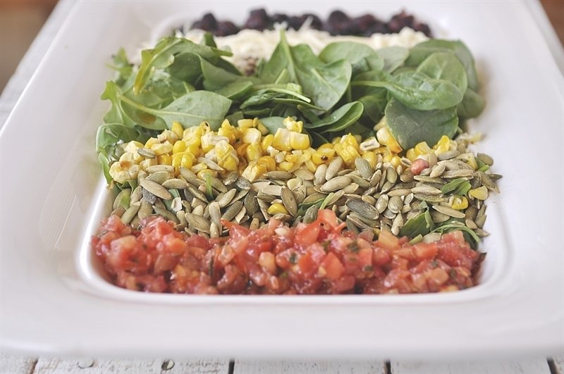 Quinoa. I used the Tri Color Quina blend from Trader Joes. The original recipe called for Orzo