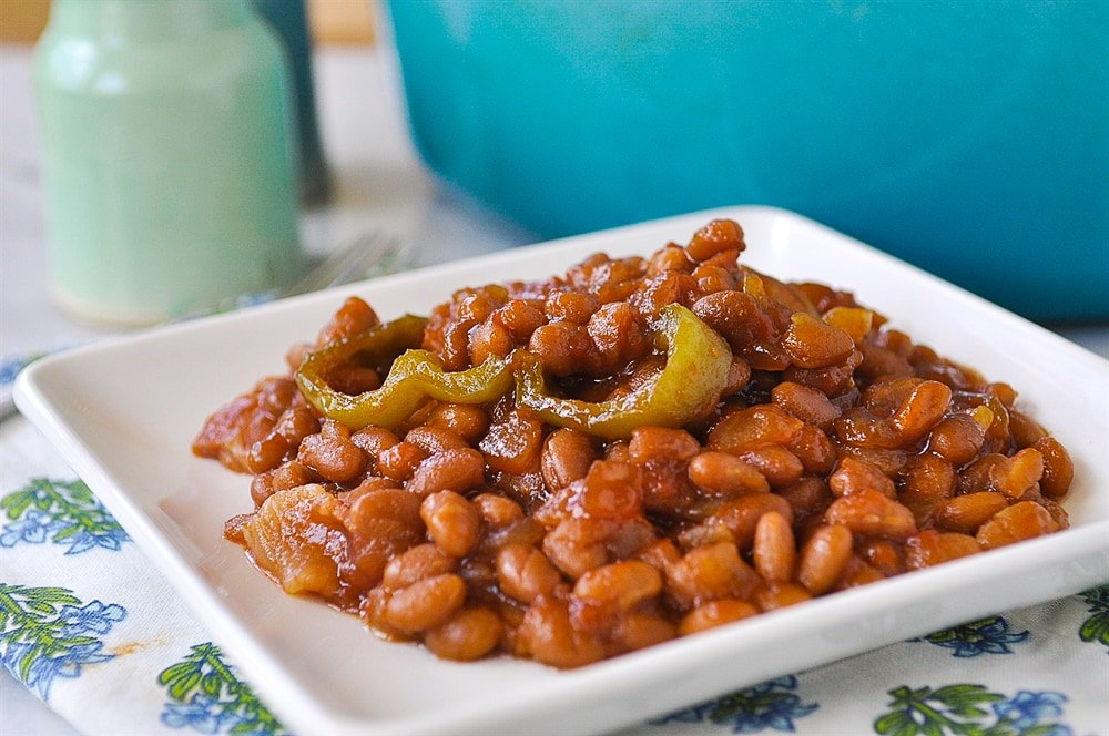 baked beans on a plate