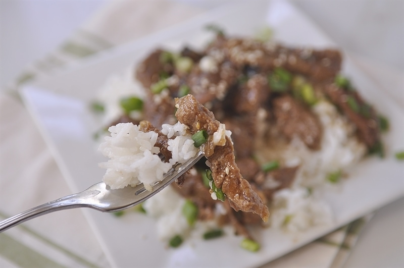 forkful of slow cooker mongolian beef