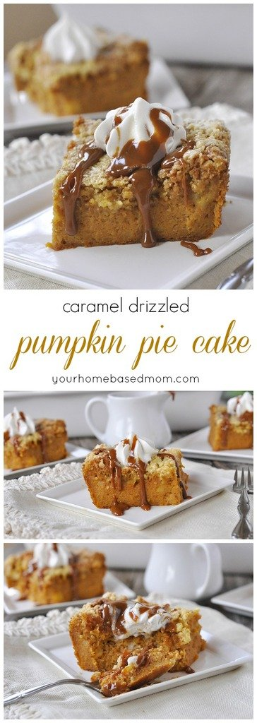caramel drizzled pumpkin pie cake