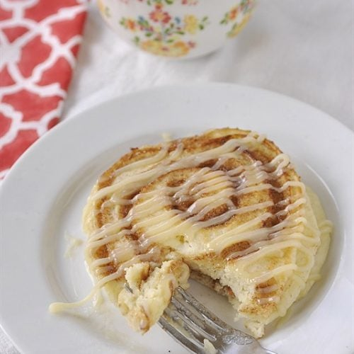 Cinnamon Roll Pancake with Cream Cheese Drizzle - fabulous!