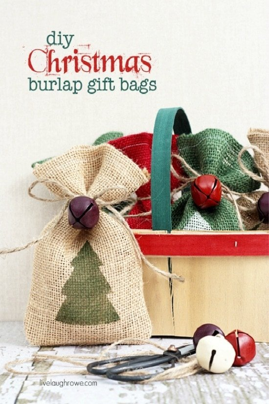 DIY Christmas burlap gift bags. Add a little flair to your gift giving this year with these handmade burlap bags! Tutorial at livelaughrowe.com