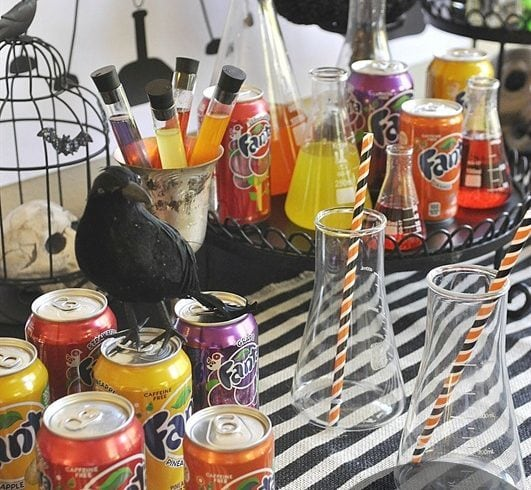 Man Scientist Soda Laboratory will be a huge hit at your Halloween party. Let the kids create their own soda concotion.