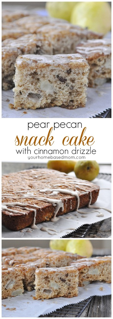 Pear Pecan Cake with Cinnamon Drizzle