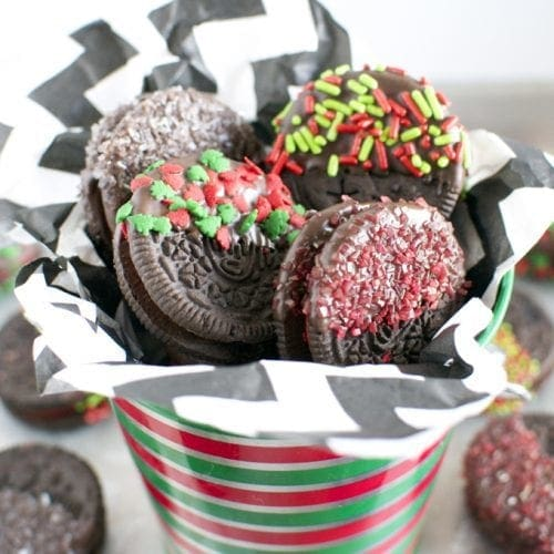 Holiday Chocolate Dipped Oreo Cookies