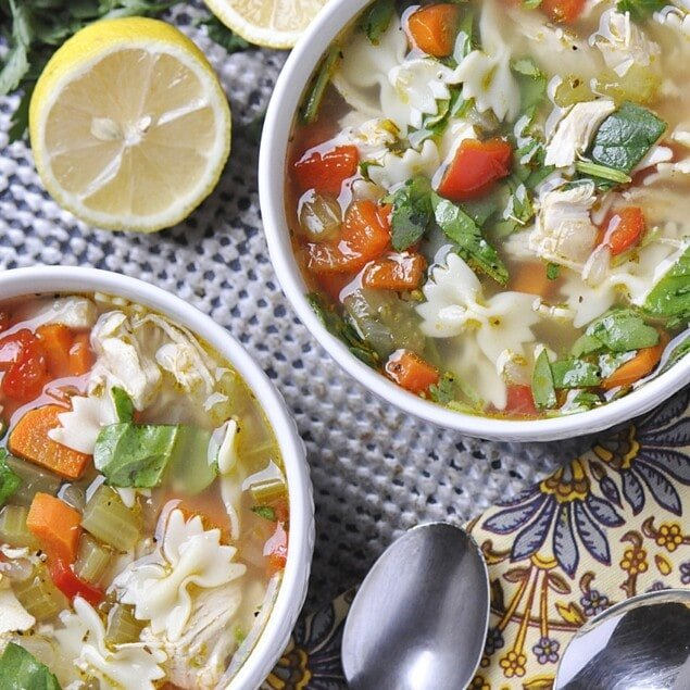 bowl of lemon turkey soup