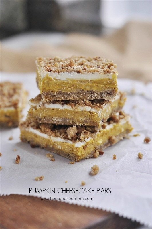 For dessert we served these delicious Pumpkin Cheesecake Bars. They ...