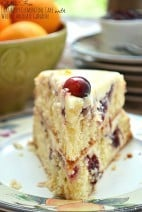 Gluten Free Cranberry Clementine Cake with White Chocolate Ganache.