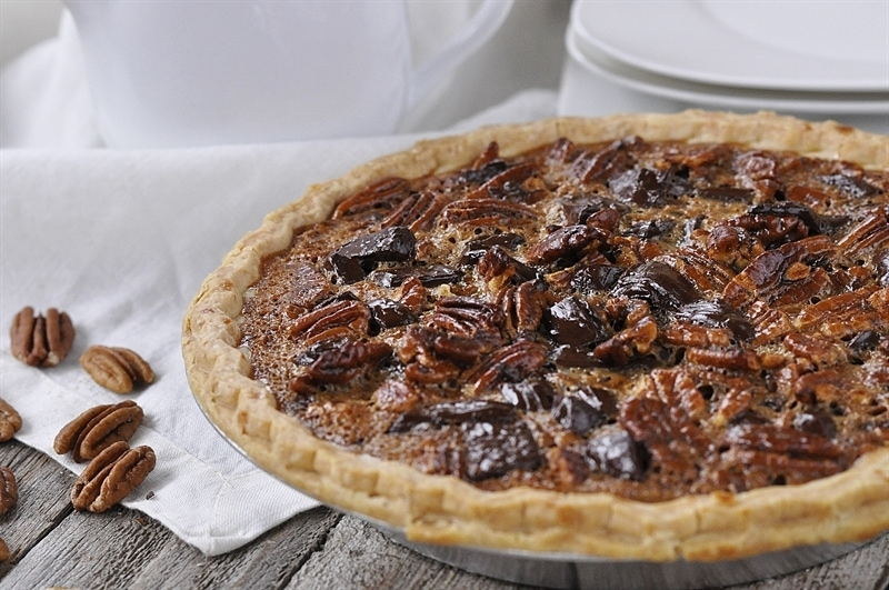 Salted Caramel Dark Chocolate Pecan Pie
