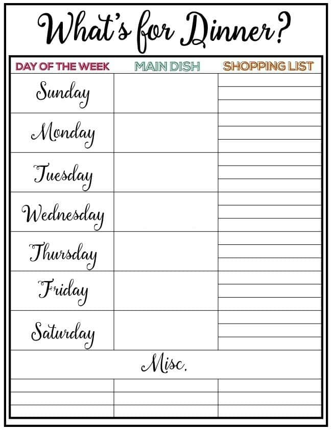 Weekly Meal Plan - Get a recipe for each day of the week and a yummy dessert! PIN IT NOW and cook later!