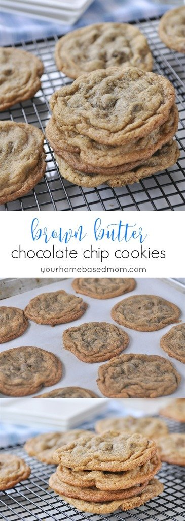 Brown Butter Chocoalte Chip Cookies - @yourhomebasedmom.com